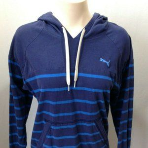 PUMA Blue Striped Long Sleeve Women's Hooded Sweat